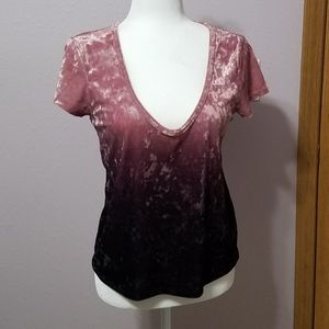 American Eagle Pink & Purple Ombre Velvet Tee